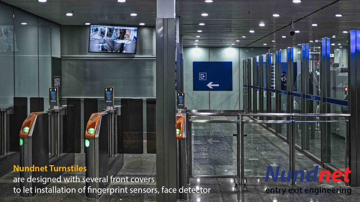 The finger print readers are used at entry and exit of the turnstiles integrated with the access control panels. The fingerprint device can be embedded in the surface of the device or can be fixed over the surface of the turnstiles