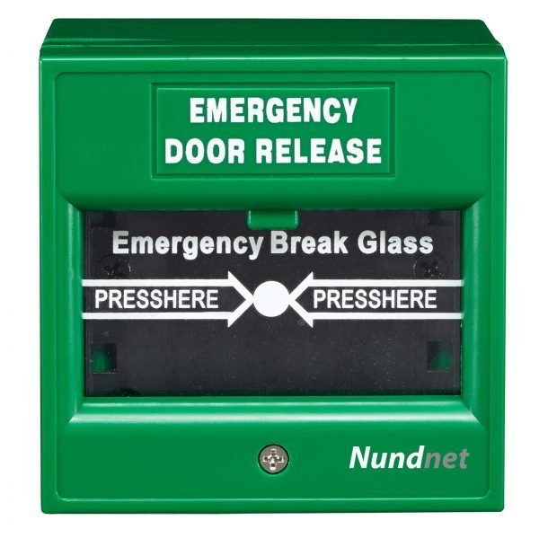 Emergency Break Glass for fire and access control Green color Nundnet USA