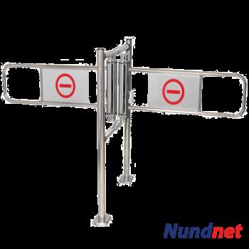 Tandem mechanical supermarket turnstile swing gate with central rail